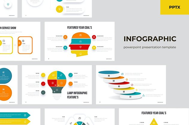 Infographics PowerPoint Presentation, a minimalistic PPT template from Envato Elements