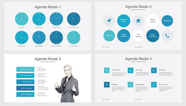 Powerful - Multipurpose PowerPoint Template, a premium templates from Envato Elements, comes with four agenda choices