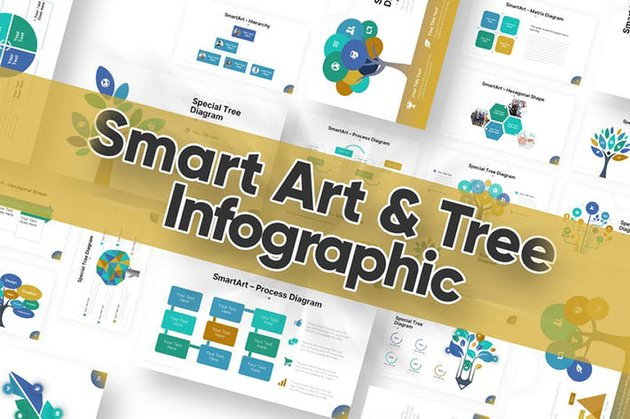 Smart Art & Tree - Decision Tree PowerPoint a premium file from Envato Elements