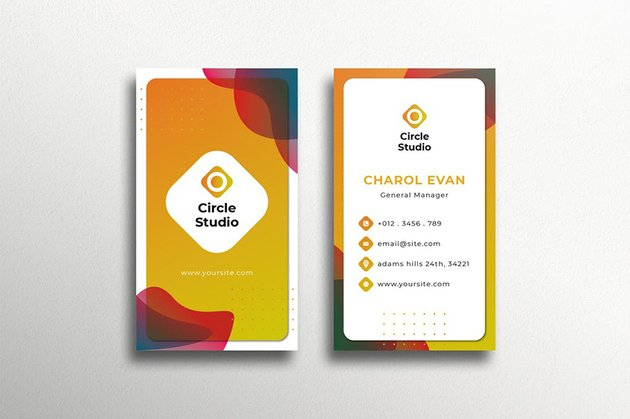 Modern Colorful Business Card, a premium template that doesn't use the usual professional colors for business cards