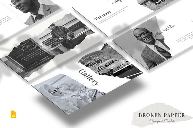 Broken Papper - Google Slides Template, a premium template from Envato Elements with loads of custom image masks
