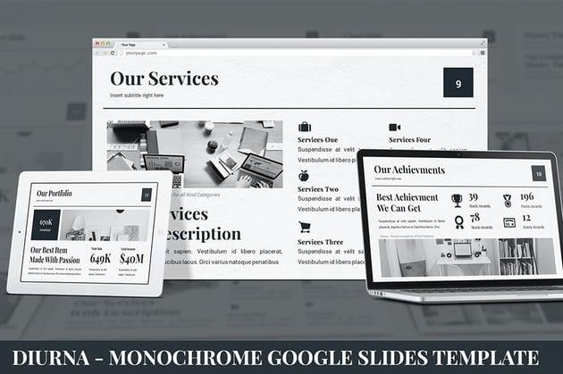 Diurna - Monochrome Google Slides Templates, a premium template on Envato Elements