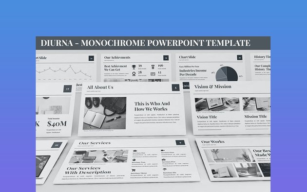 Diurna - Monochrome Powerpoint Template