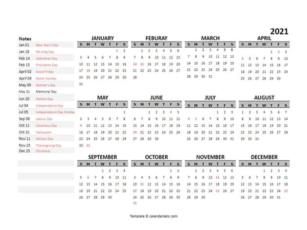 Free 2021 Yearly Calendar Template Google Docs