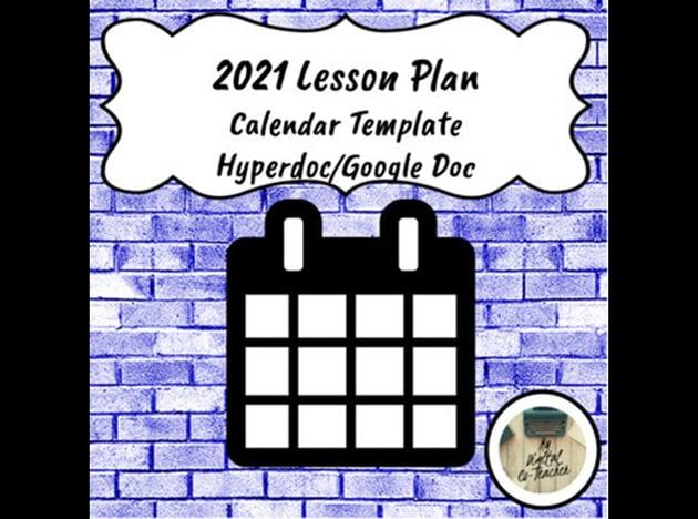 Free Lesson Plan 2021 Calendar Template