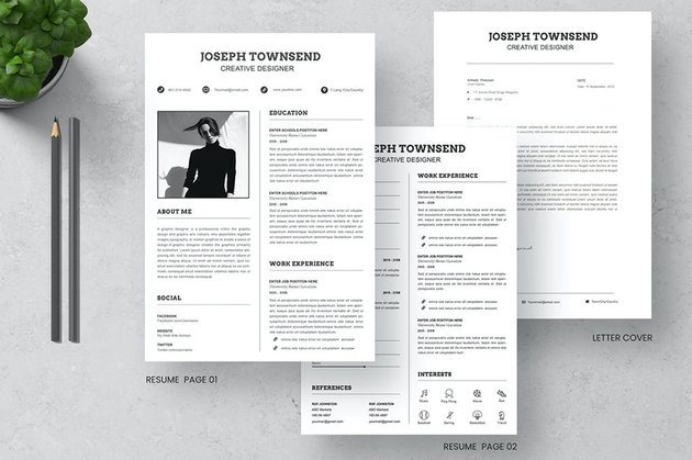 CV Resume & Letter Cover, customize this premium template and use it as a resignation letter