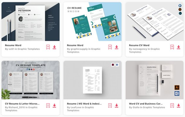 Envato Elements' selection of premium CV and resignation letter templates in MS Word