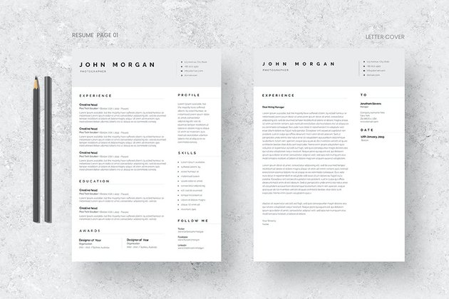 Minimalist Resume, Cover Letter & Resignation Template Word