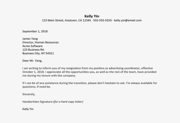Short Free Resignation Letter Template Microsoft Word Download