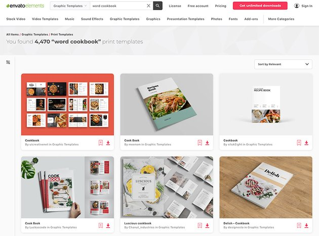 Envato Elements' selection of premium cookbook templates in MS Word