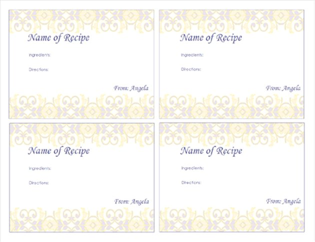 Fancy Free Recipe Card Template for Word