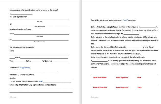 ATV Free All Terrain Vehicle Bill of Sale Template Word Doc