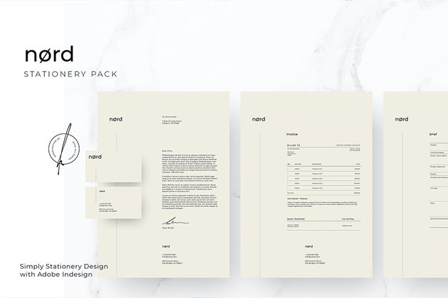 Nord Stationary Pack, an excellent premium pack for new businesses from Envato Elements