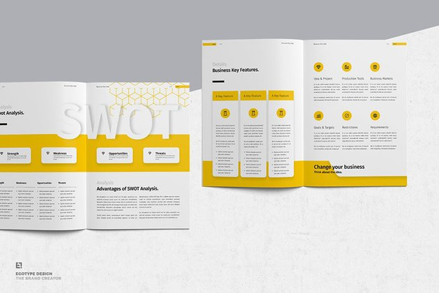 Business Plan a premium template from Envato Elements has a section below the SWOT analysis for further explanation