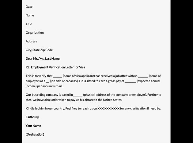 Free Employment Confirmation Letter Format in Word for Visa
