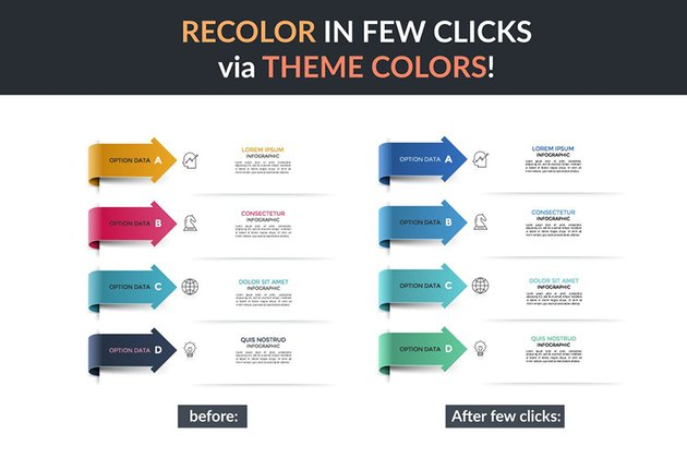 Infographics Solutions P2, color customization very easy with premium templates