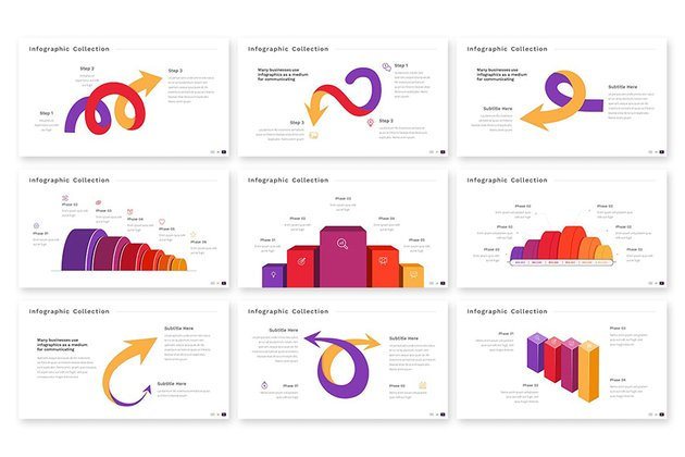 Random Infographic Powerpoint Template, minimalistic infographics slides from Envato Elements