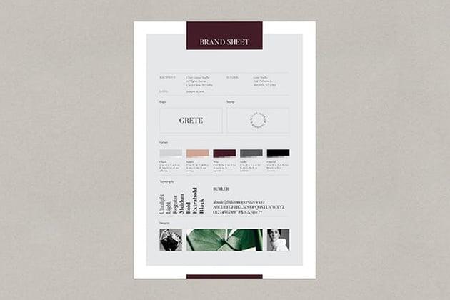 Grete Brand Sheet, a premium fact sheet template on Envato Elements