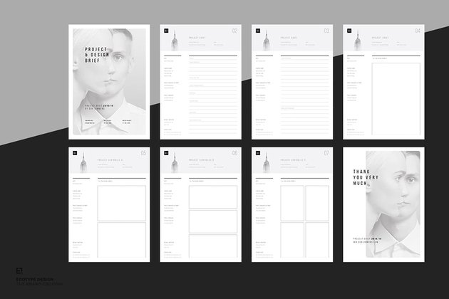 Brief and Scribbles, a minimalistic outline template from Envato Elements