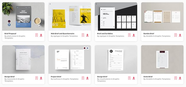 Envato Elements' selection of premium brief templates in MS Word