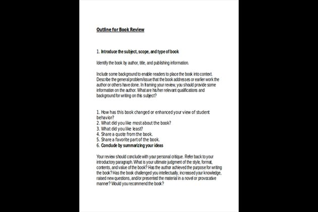 Free Book Review Sample Outline