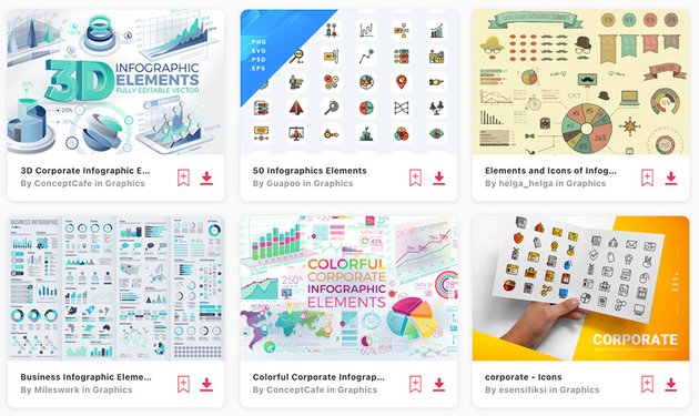 Premium corporate infographics elements from Envato Elements also come in  PNG or Jpeg