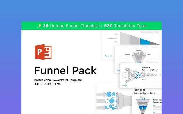 Pack - 26 Editable Funnel Charts
