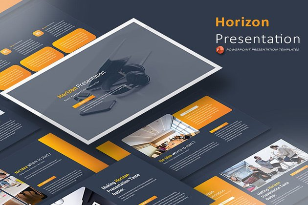 Horizontal Presentation PowerPoint Template, is suitable as a base PPT template that you can add funnel diagrams into