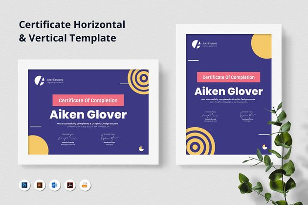 Premium Certificate Template from Envato Elements with unique dark blue background