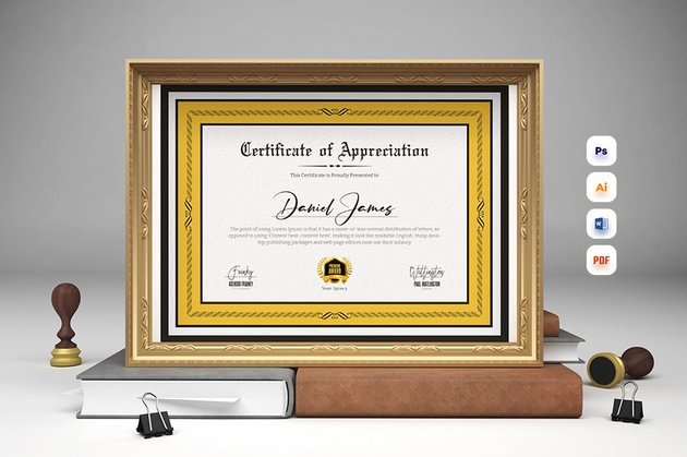 Premium Certificate Template from Envato Elements that uses Olde English font only in the title