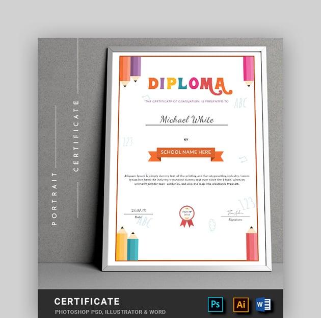 Diploma Education Certificate Template