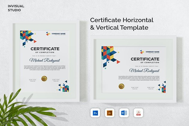 Creative Vertical and Horizontal Certificate Template in Word, a modern minimalistic template from Envato Elements