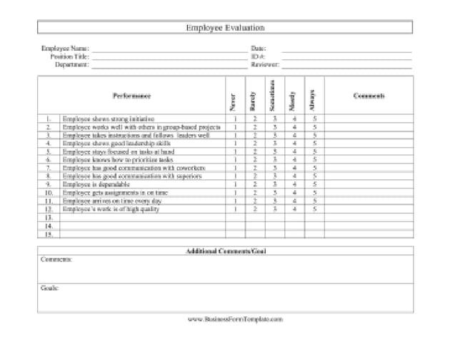 Horizontal - Free Employee Evaluation Template