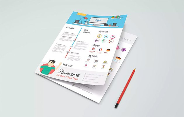 Creative infographic resume template example on Envato Elements
