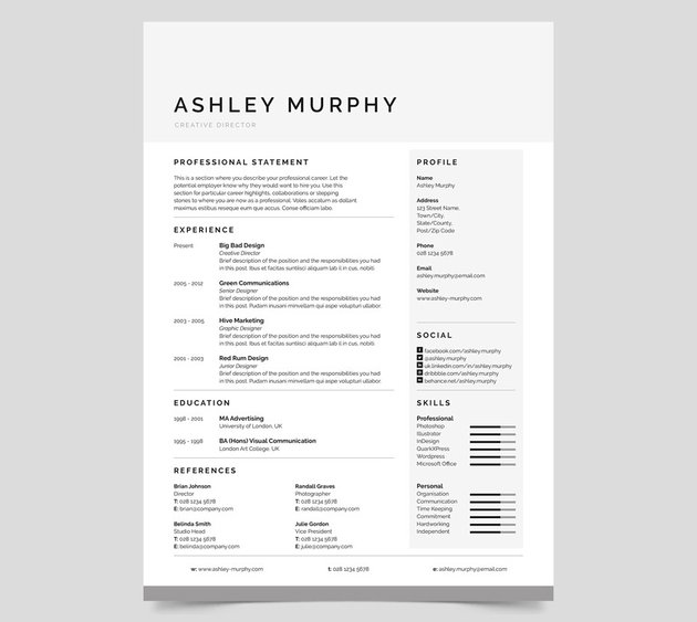 Popular well-space resume template ashley