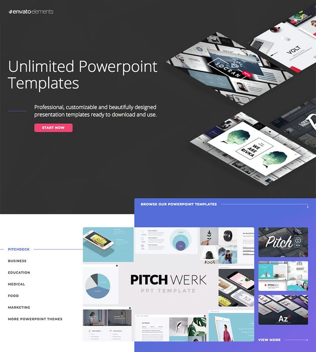 Premium templates on Envato Elements - with unlimited access
