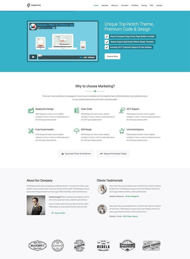 Marketing Startup Landing Page WP Theme