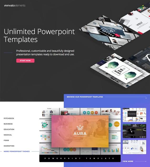Plantillas PowerPoint creativas en Envato Elements - con acceso ilimitado