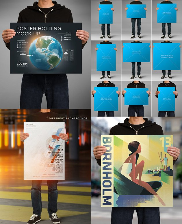 Hands Holding Posters PSD Mockups