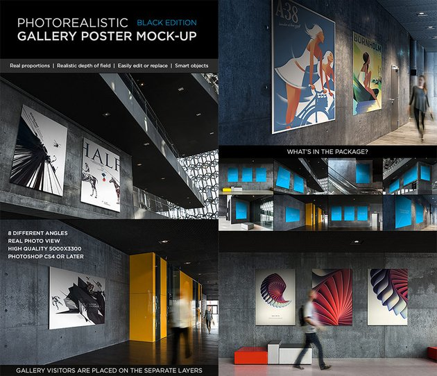 Photorealistic Gallery Photoshop Poster Mock-Up Vol 2