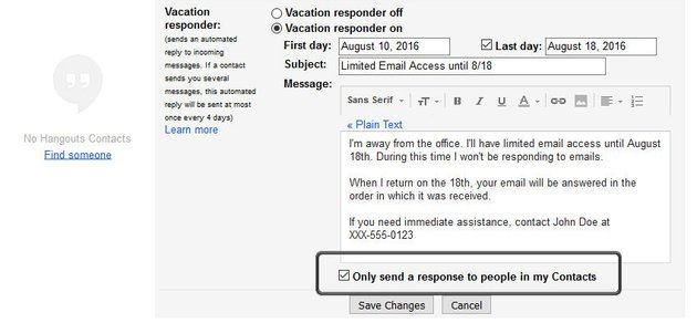 Gmail Vacation Responder - Limit Auto Response