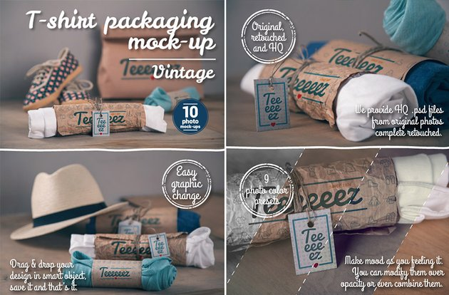 Realistic T-Shirt Packaging Design Photoshop Mockups