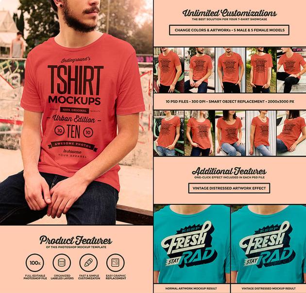 Urban T-Shirt PSD Template Mockups