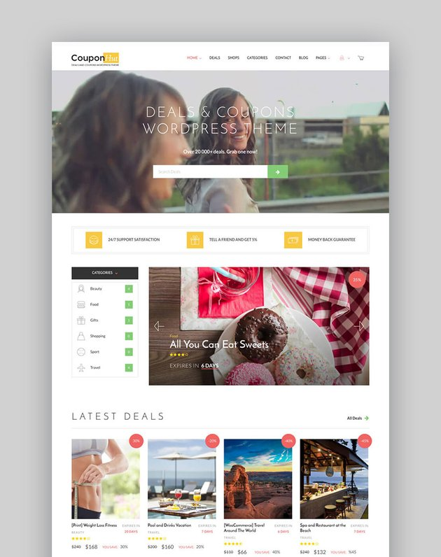 Coupon Hut Business Listing WordPress Website Template