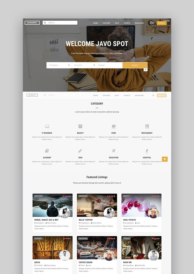 Javo Spot Flexible Directory WordPress Business Theme
