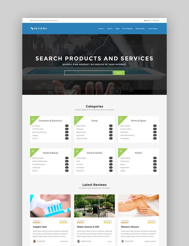 Reviews Products Services Review Business Website Template