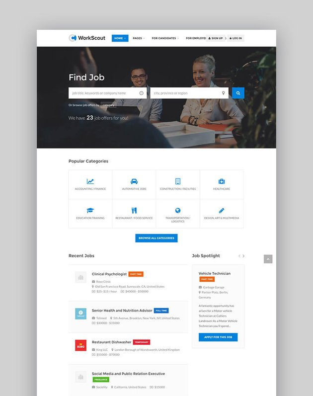 Workscout Job Board Business Directory WordPress Template