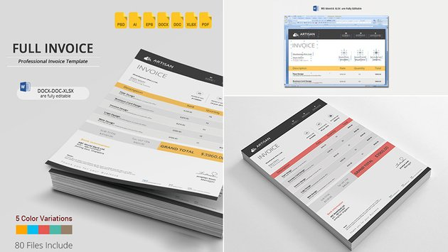 Organized Simple MS Word Business Invoice Template