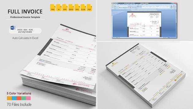 Simple Invoice Template Word Design
