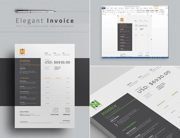 Elegant Word Invoice Template Design